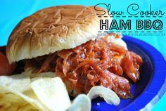 Slow Cooker Ham BBQ #easydinner #bbq #partyfood