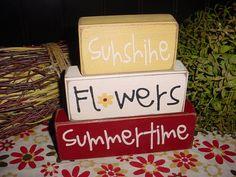 NEW for Summer Sunshine FLOWERS Summertime Wood Sign Shelf Sitter Blocks Primitive Country Rustic Home Decor Gift. $23.95, via Etsy.