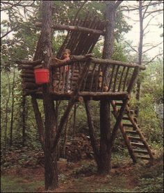 We have a yard full of trees getting bigger each year and I want Rylan to build the kids a tree fort soon so I am gathering ideas Cubby Houses, Play Houses, Tree Houses, Tree House Plans, Outdoor Fun, Outdoor Decor, Tree House Designs, Backyard Play, In The Tree