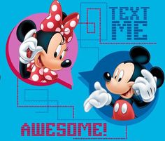 Mickey & Minnie having a cell phone conversation.