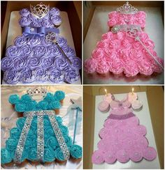 These beautiful princess dress cakes are made from cupcakes. Talk about easy to serve! Decorate with sprinkles, edible pearls ribbon and a tiara to create a one of a kind look.: