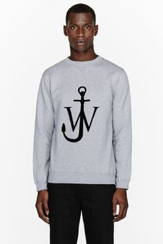 J.W.ANDERSON Heather grey velvet logo appliqué sweatshirt