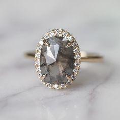 1.92 Carat Grey Oval Diamond Halo Engagement Ring, 14k Yellow Gold