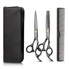 Hair Cutting Scissors Set with Hair Comb, Leather Scissors Case and Hair Cutting Cape, Sharp Regular Hair Cutting Shear, Hair Thinning Scissor Barber for Personal and Professional Use by TC JOY Hair Thinning Scissors, Hair Cutting Shears, Hair Scissors, How To Cut Bangs, Shearing, Professional Hairstyles, Hair Comb, Barber