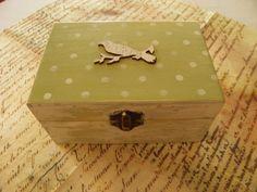 Wooden jewelry / storage box. #green .decoupage.handmade