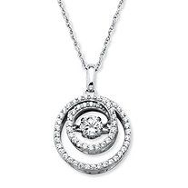 """Round """"CZ in Motion"""" Cubic Zirconia Double Circle Necklace in Platinum over Sterling Silver Fine Jewelry, Women Jewelry, Jewellery, Circle Necklace, Wedding Anniversary, Birthstones, Pocket Watch, Jewelry Collection, Women's Fashion"""