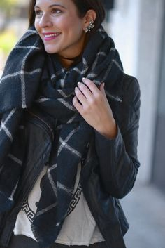 Jessica of My Style Vita shares a casual leather look with her ZARA blanket scarf in black plaid.