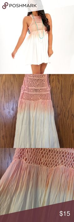 Shop Hopes Pink ombré dress Cute and comfy pink ombré dress from shop hopes. Top is see through, wear it with a cute bralette! The skirt is fully lined. Never worn. Feel free to ask questions and make offers:) Dresses