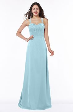 Aqua Bridesmaid Dress - Mature A-line Sweetheart Sleeveless Chiffon Floor Length Plus Size