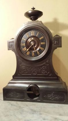 Love my clocks!! 1850's all metal Gothic Style Clock with Cast Iron Dial.
