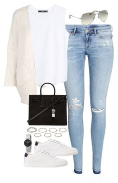 """Sin título #5359"" by marianaxmadriz ❤ liked on Polyvore featuring H&M, MANGO, Topshop, Yves Saint Laurent, Akira, Ray-Ban and Skagen"