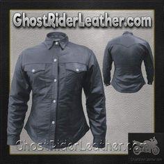 Ladies Lambskin Leather Shirt with Snap Closure / SKU GRL-AL2680-AL