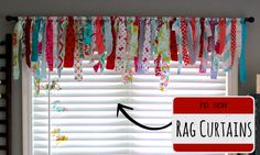 No-Sew Rag Curtains. Perfect for a craft room or nursery. Made By Marzipan