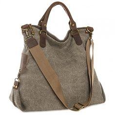 CASPAR Unisex Große Tasche Vintage Freizeit Tasche   Ledertasche   Umhängetasche mit stylischem Canvas   Leder Mix - viele Farben - TL706, Farbe:braun