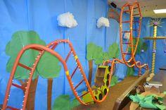 Coaster Alley - Colossal Coaster World - VBS 2013 - foam pipe insulation, paint stir sticks, Christmas lights