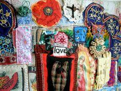 MEXICAN Altar SHRINE Folk ART Textile Assemblage Collage