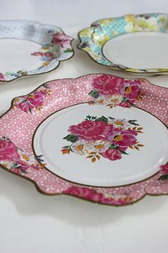 24 FLORAL TEA PARTY Large Paper Plates Parisian Vintage Style Shabby Chic Garden Tea Time Mint Green Pink Yellow Blue Rose French Paris & 36 FLORAL TEA PARTY Paper Plates Parisian Vintage Style Shabby Chic ...