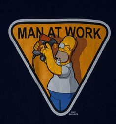 t-shirt HOMER SIMPSON drill in eye MAN AT WORK mens sz M navy blue #TheSimpsons #GraphicTee