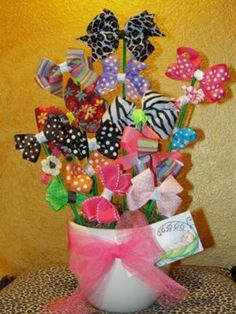 So cute for a little girl gift--a flower pot of hair bows. little girls, girl gifta, flower pots, babi, hair bows, flowers, gift idea, gifta flower, little girl gifts