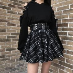 """Gothic Cat Ears Lace Hoodie Plaid Skirt Set - Use my code """"Anida"""" for the discount at the checkout! Grunge Outfits, Edgy Outfits, Short Outfits, Girl Outfits, Fashion Outfits, Mode Punk, Mode Kawaii, Gothic Mode, Plaid Skirts"""