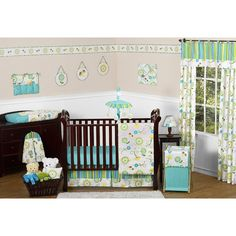 Layla 11 Piece Crib Bedding Set has all that your little bundle of joy will need. Let the little one in your home settle down to sleep in this incredible nursery set. This baby girl bedding set features a stunning floral print and a coordinating designer stripe. This set uses the stylish colors of turquoise, lime green, yellow, hot pink and white. The design uses 100% cotton fabrics that are machine washable for easy care. This wonderful set will fit standard cribs and toddler beds…