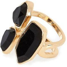 River Island Gold tone black stone cocktail ring ($4) ❤ liked on Polyvore featuring jewelry, rings, accessories, anillos, gold, sale, women, river island, stone jewelry and gold tone rings