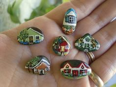 TEENIE TINY Neighborhood mini painted rock by MyGardenRocks