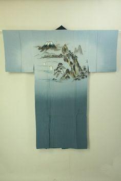 Gray silk naga juban / グレー地 富士と風景柄 絹布長襦袢   #Kimono #Japan http://global.rakuten.com/en/store/aiyama/