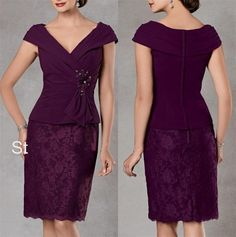 Gorgeous-Sheath-V-Neck-Plum-Party-Dress-Cap-Sleeves-Chiffon-Knee-Length-Lace-Mother-of-the