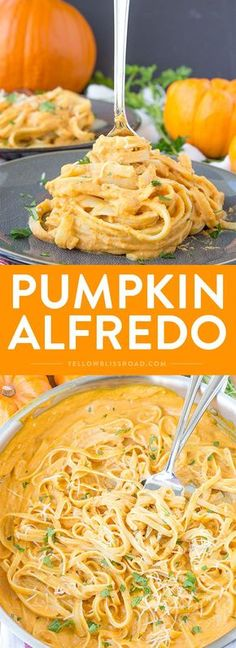 Pumpkin Alfredo - A perfect fall dinner that's easy enough for a weeknight meal and you'll never miss the cream!Creamy Pumpkin Alfredo - A perfect fall dinner that's easy enough for a weeknight meal and you'll never miss the cream! New Recipes, Vegan Recipes, Cooking Recipes, Pasta Recipes, Recipies, Chicken Recipes, Lunch Recipes, Recipe Pasta, Crockpot Recipes