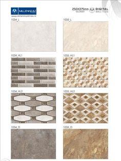 Tile #patterns designed to delight you.  Wall Tile #Design 1034 & 1035 - Millennium #Tiles 250x375mm (10x15) #Digital Ceramic Glossy Wall #Tiles Series - 1034_L - 1034_HL1 - 1034_HL2 - 1034_D - 1035_L - 1035_HL1 - 1035_HL2 - 1035_D