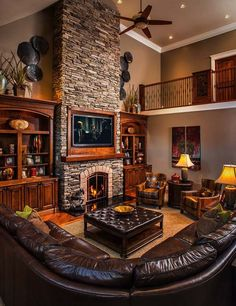 19 Stunning Rustic Living Rooms With Charming Stone Fireplace. 19 Stunning Rustic Living Rooms With Charming Stone Fireplace. Home Fireplace, Living Room With Fireplace, Living Room Paint, Cozy Living Rooms, Fireplace Design, Fireplace Ideas, Tall Fireplace, Brown Living Rooms, Modern Living Rooms