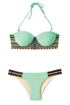 Cute tribal and mint bikinis.