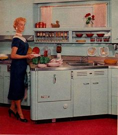 """""""Placement of the dishwasher and sink at an angle provides extra counter-top work space for the sink and the cooking area.""""    """"Family Circle Magazine""""  October 1955"""