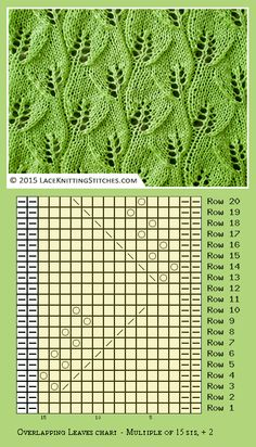 Overlapping Leaves lace pattern. Written instructions + Chart
