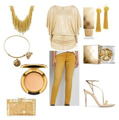 """""""Gold/Yellow"""" by aleenadolphins2004 ❤ liked on Polyvore featuring Luli Fama, Orlando Orlandini, Vanessa Mooney, maurices, Gianvito Rossi, Charlotte Olympia, Burberry and MAC Cosmetics"""