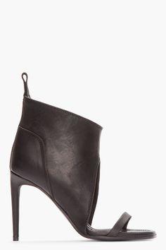 RICK OWENS Black Leather Spike Sandals
