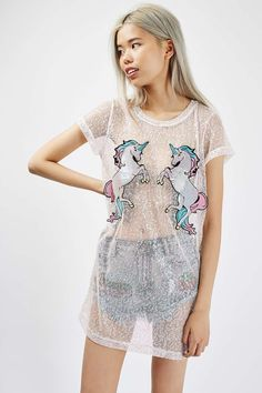 **Iridescent Mesh Unicorn Dress by Kuccia - Tops - Clothing - Topshop
