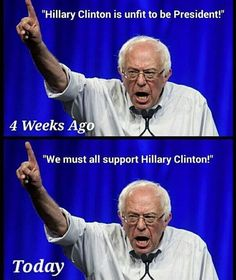 I didn't agree with Bernie but I respected him for standing his ground with the Queen Hillary but not anymore he proved to me that the only person that's got the ball's to stand against the Clintons, dare I say it Mr. Trump. I can't stand Trump but I really dislike the Clintons more.
