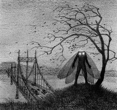 """Mothman the bridge creeper, Mothman is a legendary creature reportedly seen in the Point Pleasant area of West Virginia from 15 November 1966 to 15 December 1967. The first newspaper report was published in the Point Pleasant Register dated 16 November 1966, titled """"Couples See Man-Sized Bird...Creature...Something""""."""