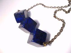 Lapis Lazuli With Pyrite Triple Cube Necklace