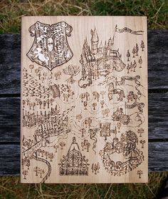 Harry Potter inspired Hogwarts Map pyrography art by BluePineShop
