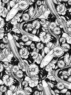 White Ink, Black And White, Ink Illustrations, Artist Names, Botanical Illustration, Koi, Monochromatic Drawing, Photo And Video, Drawings