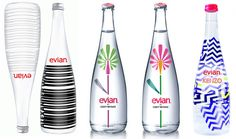 Evian limited edition fashion bottles Water Tap, Water Bottle, Limited Edition Packaging, Water Packaging, Agua Mineral, Logo Design, Graphic Design, Packaging Design, Cleaning Supplies