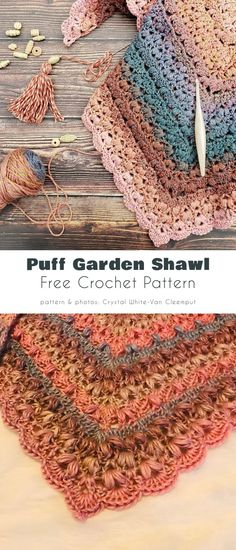 Puff Garden Shawl Crochet Mittens Pattern, Free Crochet, Crochet Patterns, Crochet Shawls And Wraps, Crochet Scarves, Crochet Stitches For Beginners, Art Du Fil, Crochet Woman, Crochet Designs
