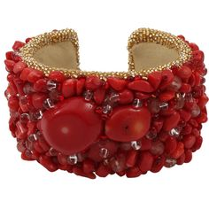 PETER CIESLA Coral Embroidered Cuff (955 AUD) ❤ liked on Polyvore