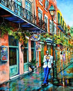 Jazz on the streets - a common sight and sound in the French Quarter.  This musician was serenading passers-by in Exchange Alley, hoping for tips.  Jazz'n in the Alley ORIGINAL - SOLD Limited Edition Signed Canvas AvailableCanvas Giclée   Note:  Watermark does NOT appear on…