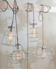 Factory Wire Cage Lamps, industrial eclectic vintage, open exposed bulb lamp, lighting ideas for the house, different shapes