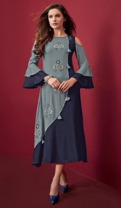 An remarkable Navy Blue and Light Blue Color Rayon Slub Embroidery Party Wear Readymade Kurtis will make you look highly stylish and graceful. Simple Kurti Designs, New Kurti Designs, Salwar Designs, Kurti Designs Party Wear, Designs For Dresses, Blouse Designs, Fancy Kurti, Kurti Sleeves Design, Long Dress Design