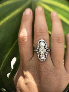 Vintage Engagement Ring Rose Cut Diamond Ring Edwardian
